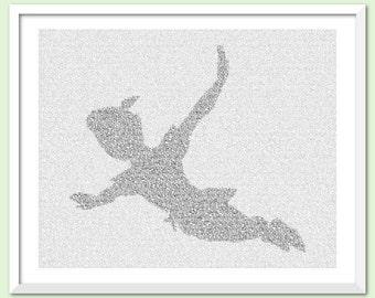 Peter Pan Flying - Text Art Print - Free AU Shipping