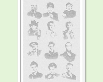Dr. Who - All 12 doctors - Text Art Print - Free AU Shipping