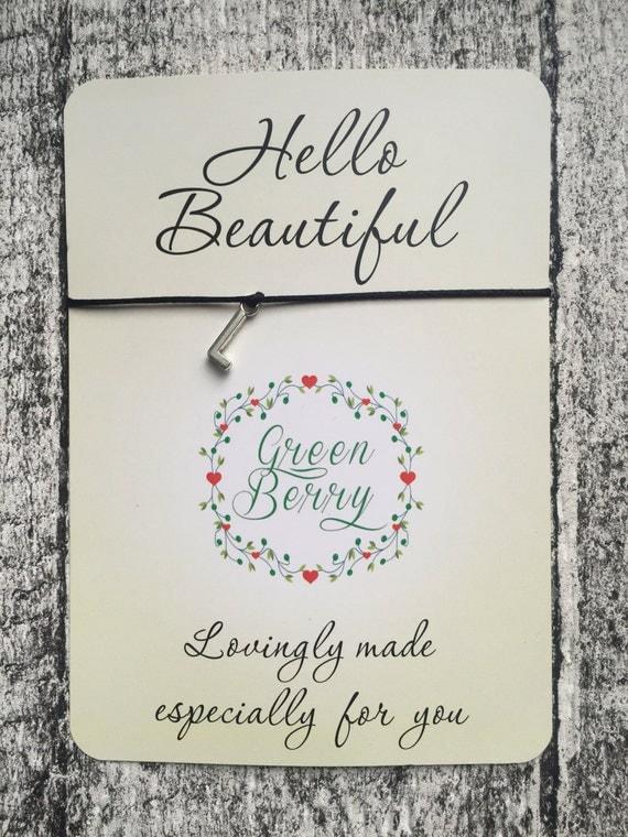 "Alphabet inital charm String Bracelet on ""Hello Beautiful"" quote card madebygreenberry wish bracelet"