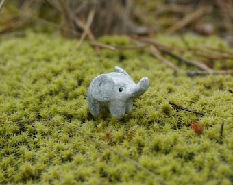 micro elephant, miniature elephant, baby elephant, miniature clay elephant, clay animal figurine, fairu house decoration, terrarium decor