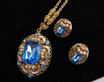 Pendant Necklace and Clip Earring Set Made in West Germany Estate Jewelry Blue Glass and Seed Pearls