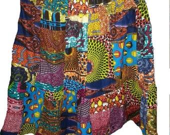 African Patch Batik Skirt