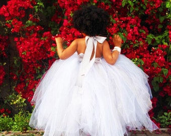 Formal Flower Girl or Birthday Princess Dress - You Choose the colors. Tutu Long Tulle Dress Formal Gown with Open back.
