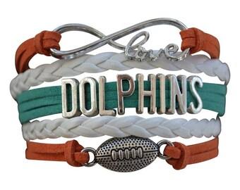 Miami Dolphins Jewelry- Miami Dolphins Bracelet - Perfect Football Gift!!!