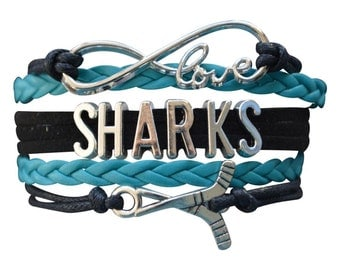 San Jose Sharks Jewelry- NHL San Jose Sharks Bracelet- Perfect Hockey Fan Gift!!!