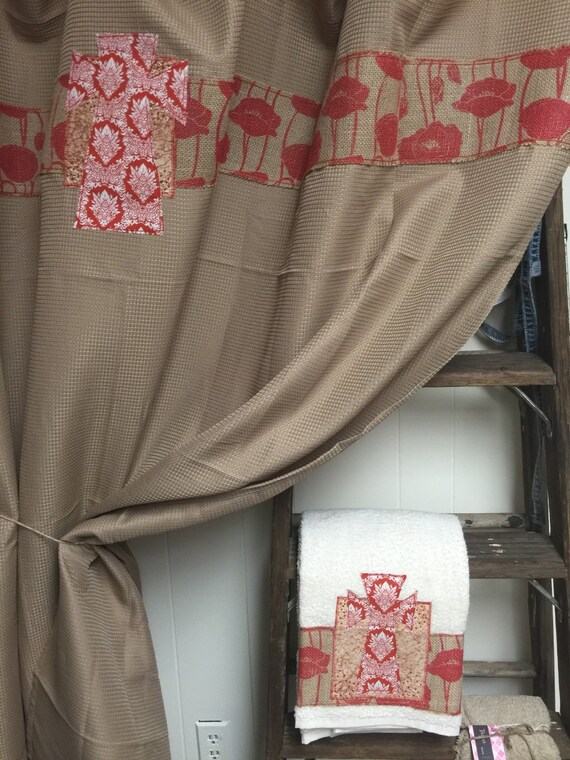 Tan Red Embellished Shower Curtain