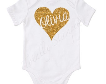 Personalised glitter heart onesie/bodysuit with name, you choose colour.