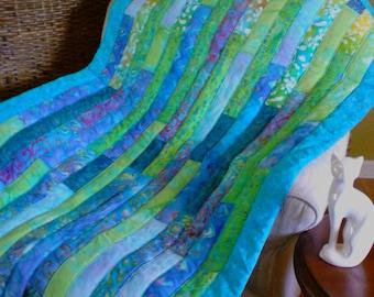 BoHo modern turquoise/lime green/blue batik lap quilt