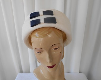 Vintage  White Toque Hat with Navy Bow Trim 1960's