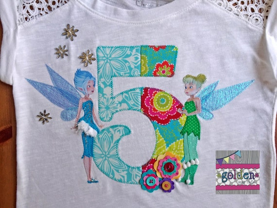 Tinkerbell and Periwinkle, Secret of the Wings Inspired Appliqued Birthday Tee