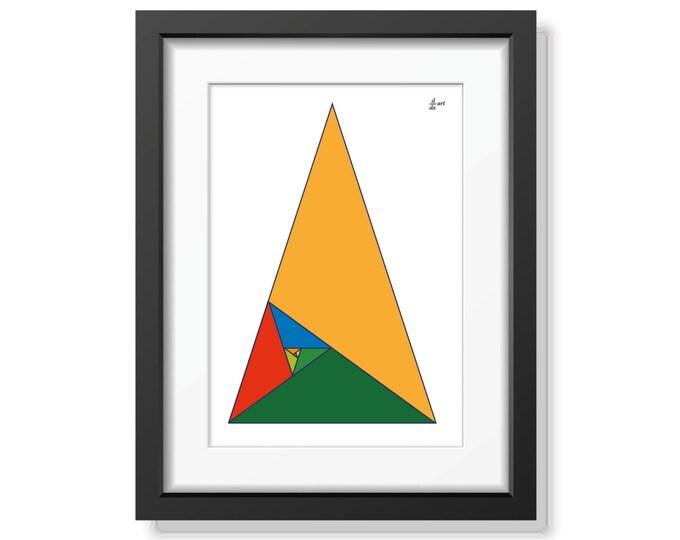 Fibonacci triangles 02 [mathematical abstract art print, unframed] A4/A3 sizes
