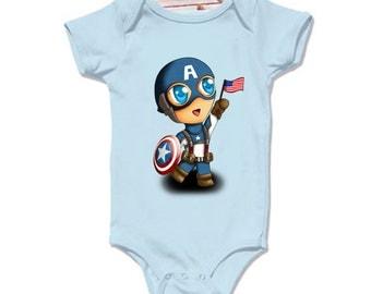 LoNyatanee Cute captain America Onesie Baby Onesie Bodysuit Kids Clothing
