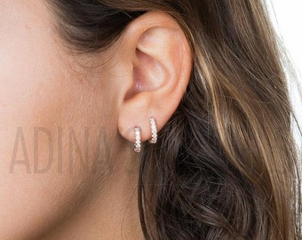 Baguette Stud Earrings | Silver Rhinestone Earrings | Cubic Zirconia Earrings | Sterling Silver Earrings | CZ Earrings | Bridesmaid Earrings