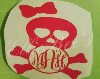 Skull and crossbones with a bow yeti monogram 3.5x3.5
