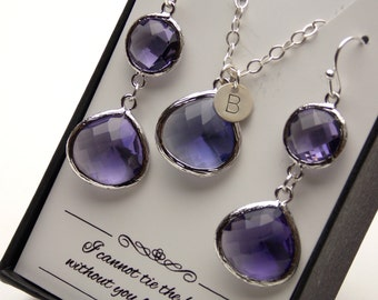 Purple Earring and Necklace Set, Wedding Jewelry, Silver, Initial Necklace, Amethyst, Bridesmaid Jewelry Set, Personalized Jewelry Set