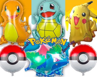 4PC XL Charmander Bulbasaur Squirtle Pokemon Pikachu balloons party decoration table cover banner flag cupcake toppers latex foil