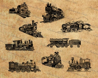 Digital SVG PNG  train, vintage train, locomotive vector, wagon clipart, silhouette, instant download