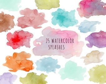Buy 3 for 9 USD - Clouds Splashes Clipart watercolor, Handpainted watercolor, digital clipart, cards, invitationsrt, multicolor,colorful PNG