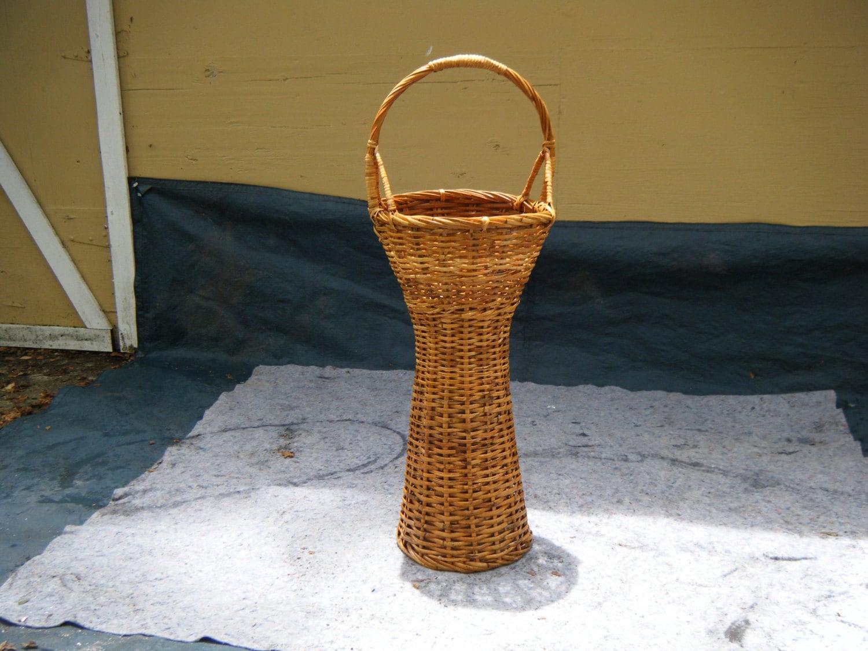 Super Tall Wicker Rattan Pedestal Basket Planter