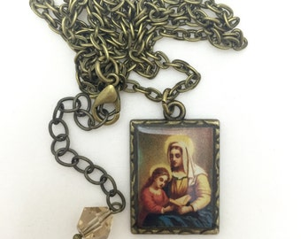 St. Anne medal pendant necklace brass