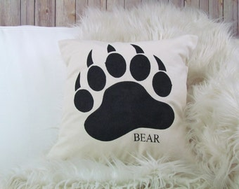 Burlap Pillow - Bear Paw Pillow, Bear Pillow, Woodland Nursery, Lodge Decor, Animal Pillows, Cabin Decor