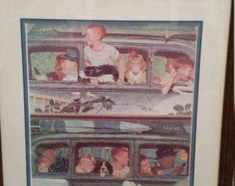Framed Norman Rockwell Print-Going and Coming