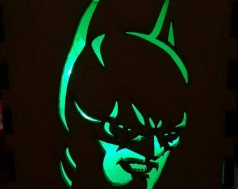 Batman / Wooden Box / Tealight Box / Wooden Tea Light Holder / Halloween Decoration / Stocking Stuffer / Light Box / Geeky Gift