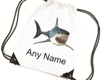 Personalised Childs SHARK PE/Swim/School Bag