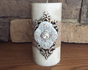 Luxury Pillar Candle, Swarovski Embellishment Candle, Decorative Candles Luxury Candles, Pillar Candle, Single Wick Candle Home Decor