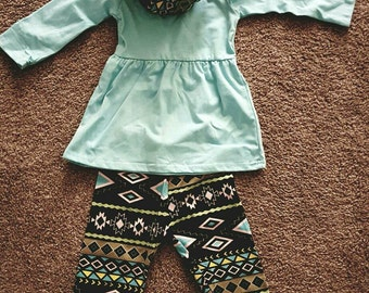 Personalized turquoise 3 piece Aztec Toddler Outfit!