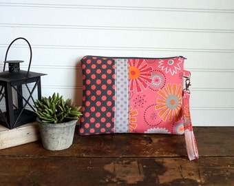 Tablet Case, Coral and Gray Floral and Dots, Tablet Clutch, Kindle Bag, Gadget Bag, Wristlet Clutch Bag, Mini iPad Bag, Many Uses
