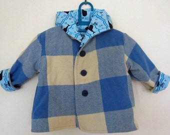 Toddler jacket - vintage wool blanket, blue whale