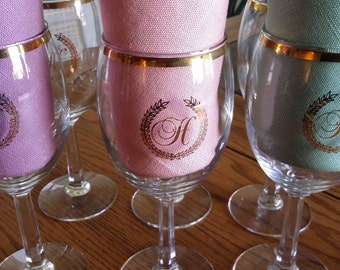 Monogrammed wine glasses, H wine glass, gold wine glasses, set of 6 wine glasses. mongrammed barware
