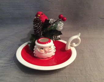 Holt Howard Japan Santa Chamberstick Candle Holder, Holt Howard Christmas Chamberstick, Japan 1959