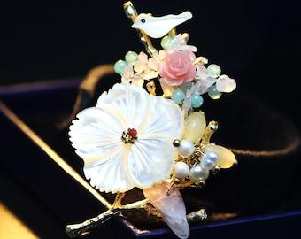 Brooch, Pin, Pearl Pin, Pearl brooch, Gemstone Brooch, Gemstone Pin, Gemstone Jewelry, Pearl Jewelry, Pearl Pendant Brooch, Vintage Jewelry