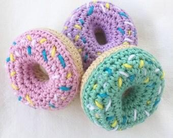 Crochet Sprinkled Donut Toy Rattle