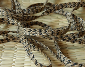 5 yards of Jute Trim, Frayed Jute Trim, Beige and Black Braided Jute Trim
