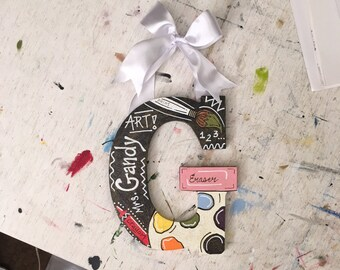 Gift For Art Teacher, Painted Wooden Letter, Classroom Door Hanging, Customized Letter, Painted Letter, Personalized Initial, Painted Initia