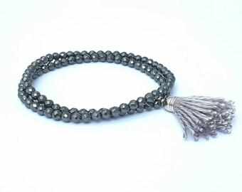 Hematite Beads Bracelet with silk tassel