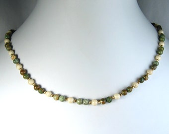 """Rhyolite and Riverstone Necklace Gold 16"""""""