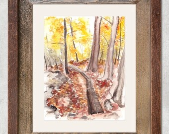 Fall Forest Hiking Trail Original Watercolor Painting