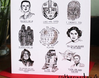 Star Wars Pun Chat Up Line Greetings Card anniversary