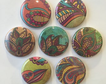 Paisley Magnets - set of 7