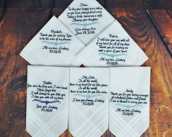 Wedding Handkerchiefs - Set of 6 - Unique Wedding GIft - Wedding Gift for Mother of Groom -  Personalized Wedding GIft - Handkerchiefs