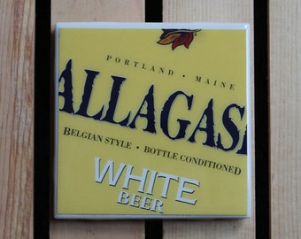 Allagash White Craft Beer Coaster from Recycled 6 pack holders. Beer Coasters. Beer Gifts. Drink Coasters.