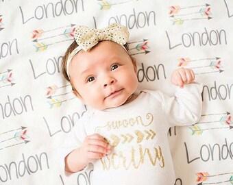 Personalized Baby Blanket - Arrow Blanket - Monogram Baby Blanket - Baby Shower Gift - Custom Blanket - Monogrammed - Name
