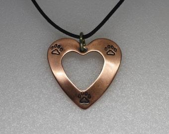 Copper dog paw pendant, Copper, heart pendant, dog lover gift