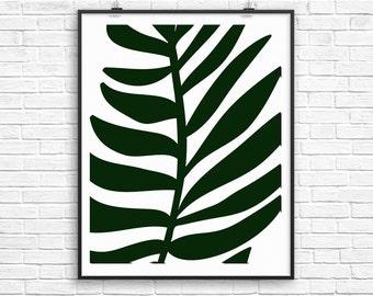 Palm Leaf Print, Tropical Art, Palm Frond Art, Green Decor, Popular Art, Palm Tree Decor, Tropical Decor, Wall Art, Download Print, Poster