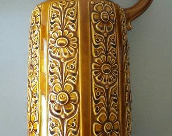 Big West Germany Vase Oker Color Flower Decor '70