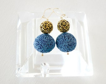 statement earrings, bohemian earrings, gypsy earrings, hippie earrings, unique earrings, blue earrings, dangle earrings
